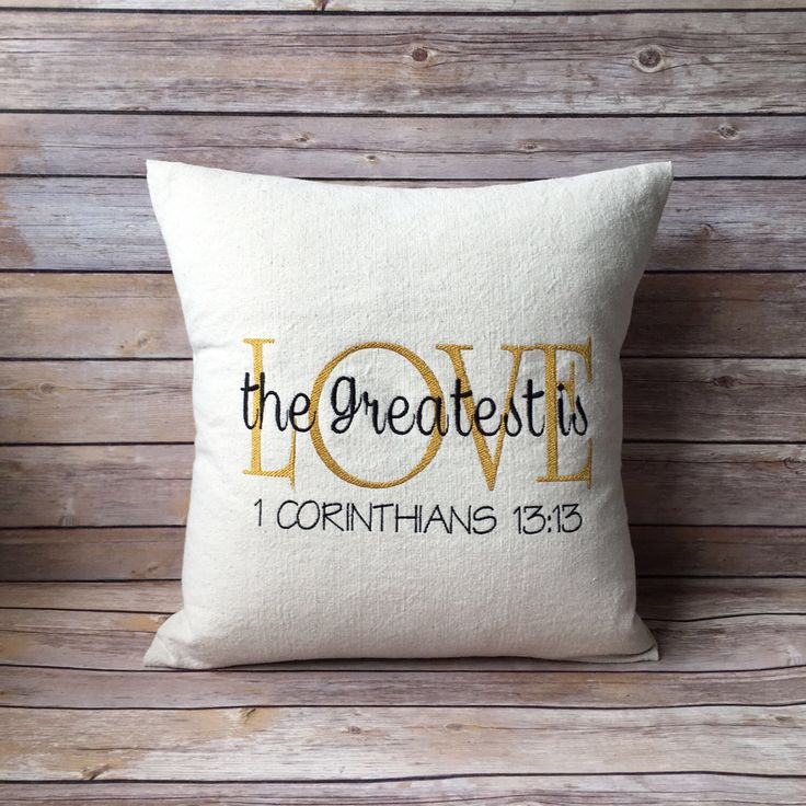 Check out this beautiful pillow!! Perfect gift for the person who taught you how to love!? Etsy shop https://www.etsy.com/listing/587172248/scripture-throw-pillow-corinthians-the