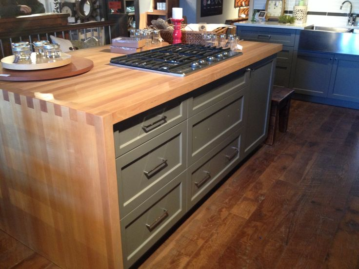 Love This Butcher Block Waterfall Counter On The Island Which Is Huge Kitchen Showroom At