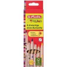 Herlitz Trilino 6 darabos, natúr, vastag háromszög alakú színes ceruza készlet - Színes ceruzák Ft Ár 639 Herlitz Trilino 6 darabos natúr háromszög alakú színes ceruza készlet  Natúr fából készült hegyezett, kiváló minőségű, vastag háromszög alakú színes ceruza készlet. A ceruzabél fa foglalata fenntartható és ellenőrzött erdőgazdálkodásból származik. A háromszög alakú színes ceruza készlet 6 különböző színes ceruzát tartalmaz. Jól fedő és ragyogó színek. A háromszög alakú színes ceruzák…