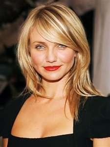 Cameron Diaz long bangs hairstyle.