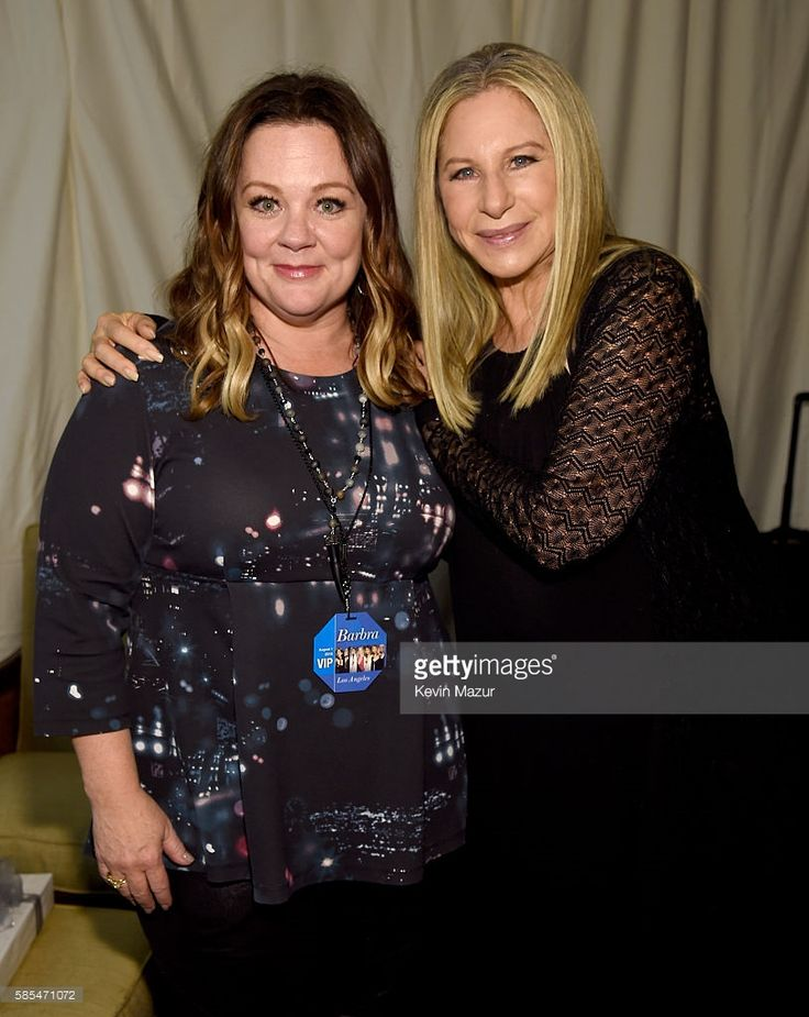 Melissa McCarthy (L) and Barbra Streisand pose backstage during the tour opener for 'Barbra - The Music... The Mem'ries... The Magic!' at Staples Center on August 2, 2016 in Los Angeles, California.