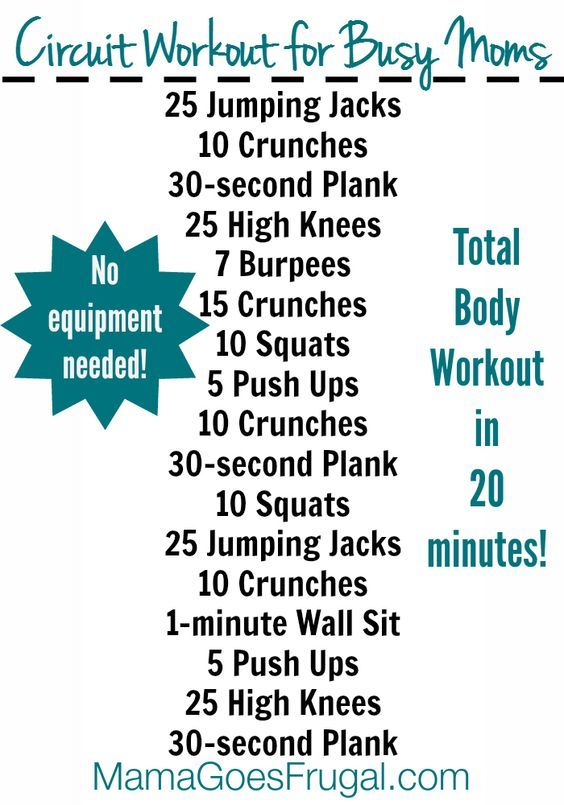 Even busy moms have time for this 20 minute at home circuit workout. http://www.mamagoesfrugal.com/20-minute-home-workout-busy-moms-free-printable/: