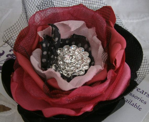 Small fabric flower in hot pink and black with by Flowears on Etsy, $9.50