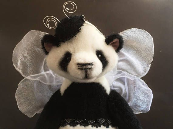 Look, look, the new teddy was born . Directly from a cocoon. Please welcome  PANDAFLY Galathea! 28 cm tall, with gentle wings and elegant hat. She's designed by me, made by my own pattern and hand sewed.