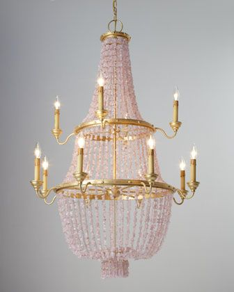 """""""Loulou"""" Pink Stone Chandelier at Horchow."""