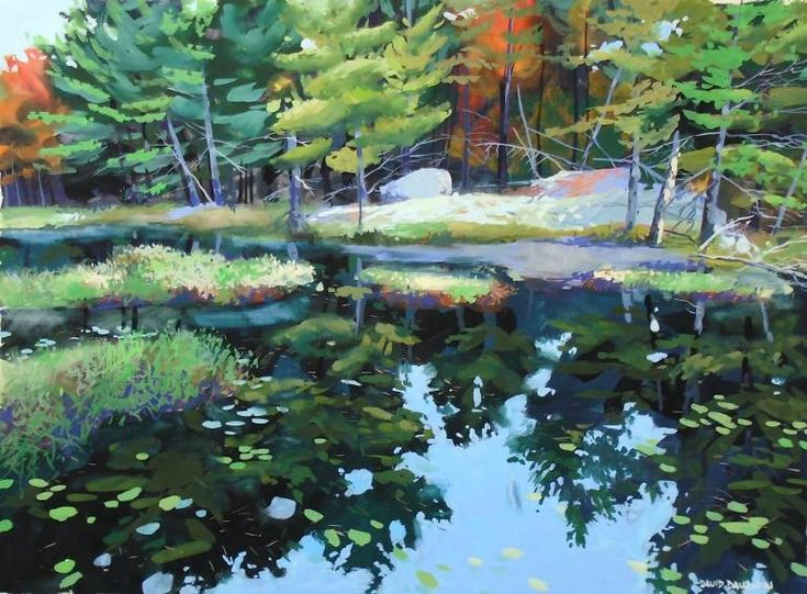 Buy Wilderness Beaver Pond, a Gouache Painting on Other, by david dawson from Canada, For sale, Price is $1300, Size is 25 x 35 x 1 in.