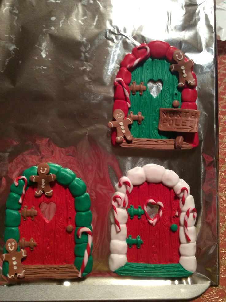 Christmas fairy doors made from fimo