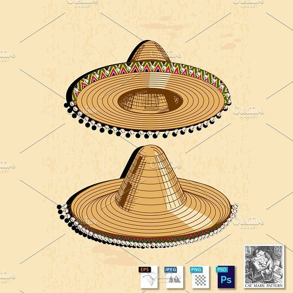 Sombrero by CatMadePattern on @creativemarket