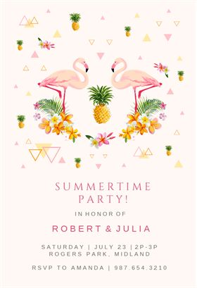 """Flamingo Party""  printable invitation template. Customize, add text and photos. Print or download for free!"