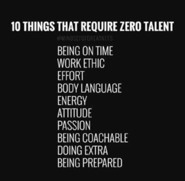 10 things that require zero talent. - Proactive Coaching