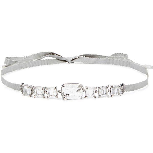 Jenny Packham Crystal-embellished Grey Ribbon Choker (1.040 NOK) ❤ liked on Polyvore featuring jewelry, necklaces, engraving necklaces, choker necklaces, grey choker necklace, ribbon choker necklace and engraved necklace