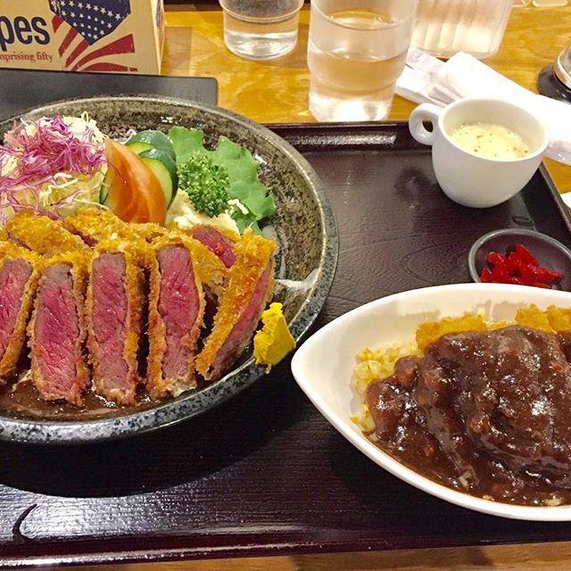 ある日のビーフカツとピネライス。 ピネライスは焼きめしにカツを乗せてカレーやデミグラスソースをかける料理なんやって!  #ビーフカツ#ビフカツ#牛肉#肉#ピネライス#京都#kyoto