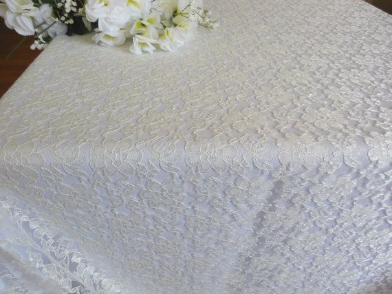 Wedding lace tablecloth ivory lace table topper  wedding table decoration
