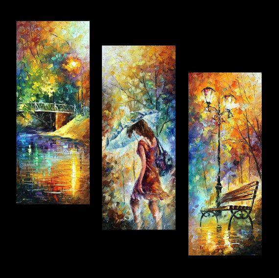 """Aura de otoño (juego de 3 pinturas), espátula óleo sobre por Leonid Afremov Size de la lona: 16 """"x 40"""" cada (40 cm x 100 cm)"""