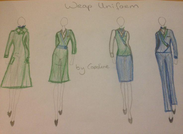4x uniform made by Caroline PLAATJE 1. dikke getailleerde jas met capuchon; PLAATJE 2. groene wrap jurk, met blauwe band en witte platte boord. (jersey stof) PLAATJE 3. blauwe koker rok, met groen vestje en witte blouse, sjaaltje en huidkleurige panty. PLAATJE 4. blauwe broek smal op de knie, blauw schuin jasje met groen vestje en witte blouse met platte boord.