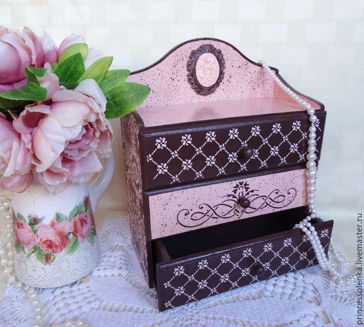«Мантилья» Мини-комод для украшений, винтаж - коричневый,розовый,элегантный