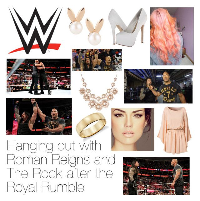 """""""Hanging out with Roman Reigns and The Rock after the Royal Rumble"""" by wwediva72 ❤ liked on Polyvore featuring WWE, Steve Madden, Aamaya by Priyanka, Vivienne Westwood and Blue Nile"""