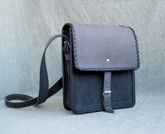 "Full grain leather suede, handbag ""Chaplin"", blue colour bag for men, medium size bag, genuine leather bag with strap, gifts for him"