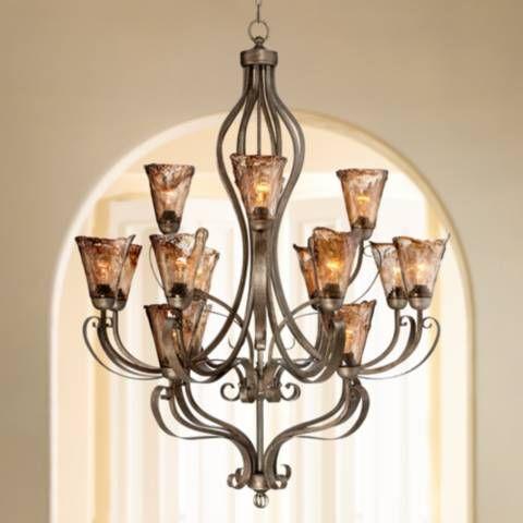 "Organic Amber Scroll 38"" Wide 16-Light Bronze Chandelier - #6Y688 | Lamps Plus"