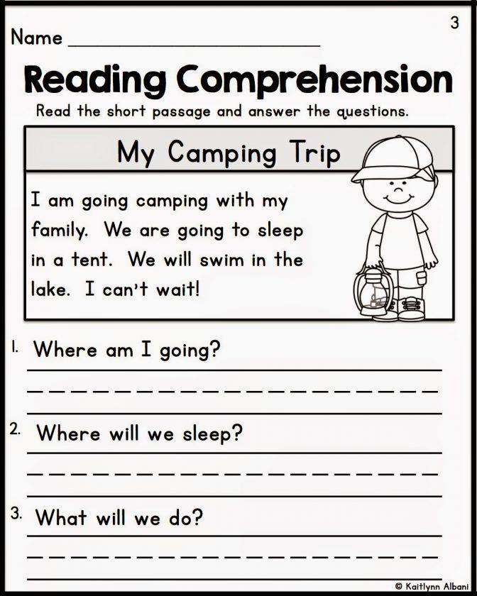 Kindergarten Reading Prehension Worksheets Multiple