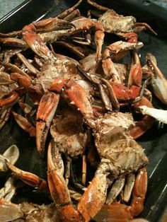 Barbecued Crabs-I did this and they are delicious over a charcoal grill.  Must keep basting the cavity of crab to prevent drying out.  T