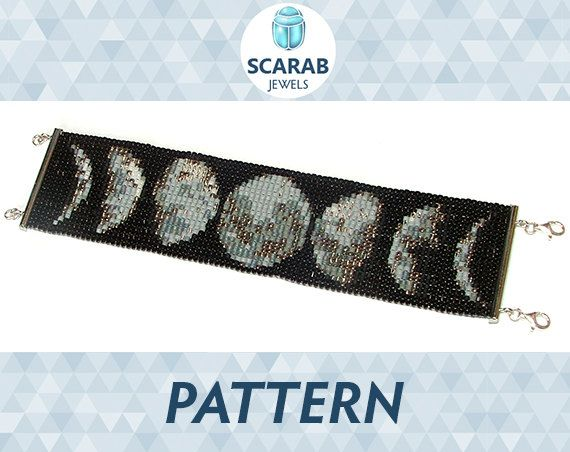 Bead Loom Pattern: Moon Phases Bracelet / Cuff by ScarabJewels