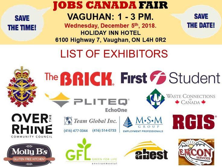 List of hiring companies for vaughan job fair december