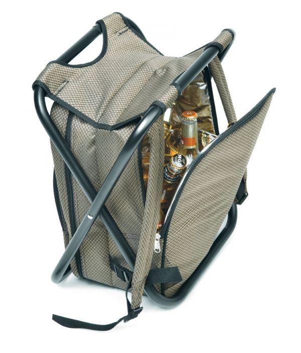 Afrika Spectator Bag 36 ( w ) x 28 ( d ) x 42 ( h ) 1200D with aluminium foil lining front zippered pocket recessed plaque for  domed sticker adjustable shoulder straps Includes: 2 x plastic plates, 1 x waiters' friend 2 x forks, 2 x knives, 2 x spoons, 1 x butter knife, 2 x napkins, 1 x plastic cheese board and  2 x plastic goblets max weight bearing capacity of seat: 135kg