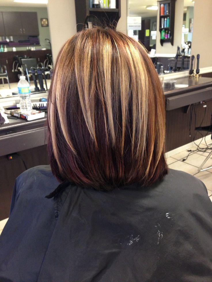 Chunky Blonde, brown, & burgundy highlights