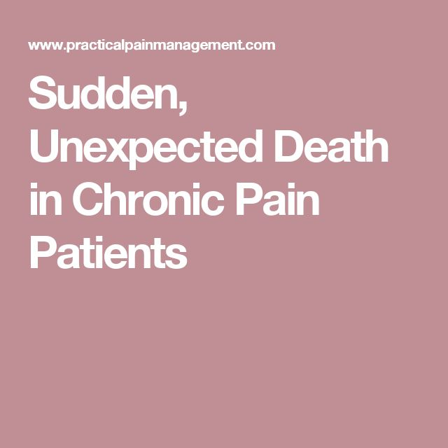 Sudden, Unexpected Death in Chronic Pain Patients