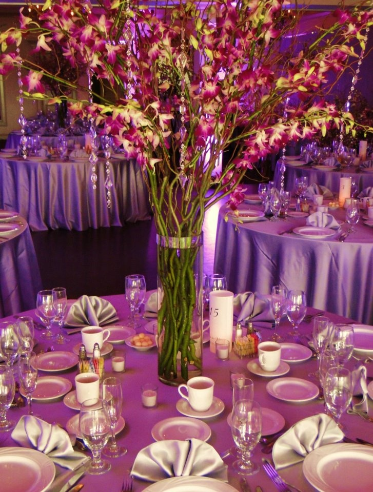 Centerpieces With Purple Dendrobium Orchids Curly Willow And Hanging Crystals Breathtaking