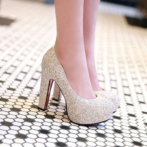 Zapatos de alto brillo – Amazon.com | Summerwhisper Mujer lentejuelas punta redonda Chu …   – Damenschuhe