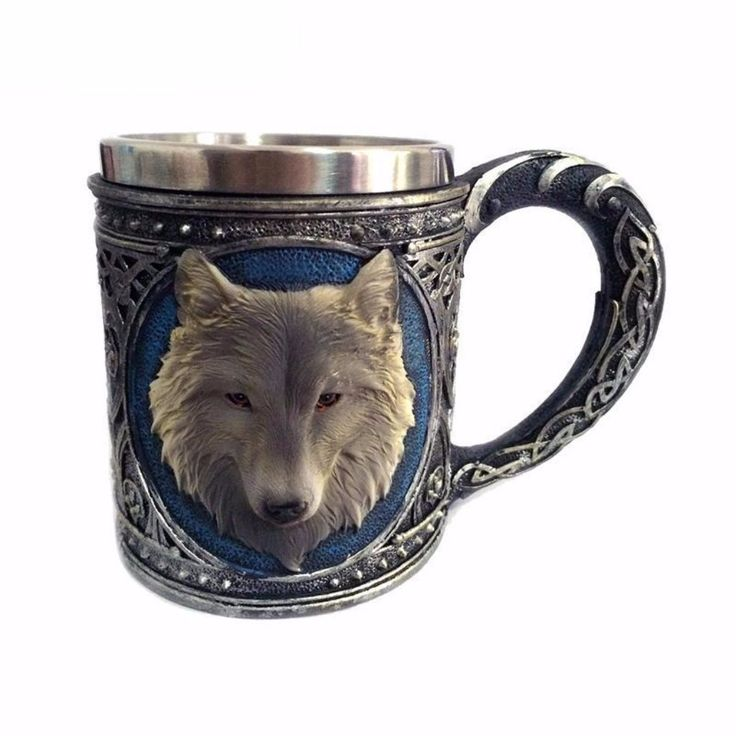 Stainless   Double wall   3-D Wolf Drinking Mug   Oasis Trends