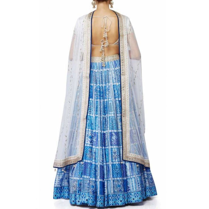 Blue Raw Silk Lehenga With Raw Silk Choli