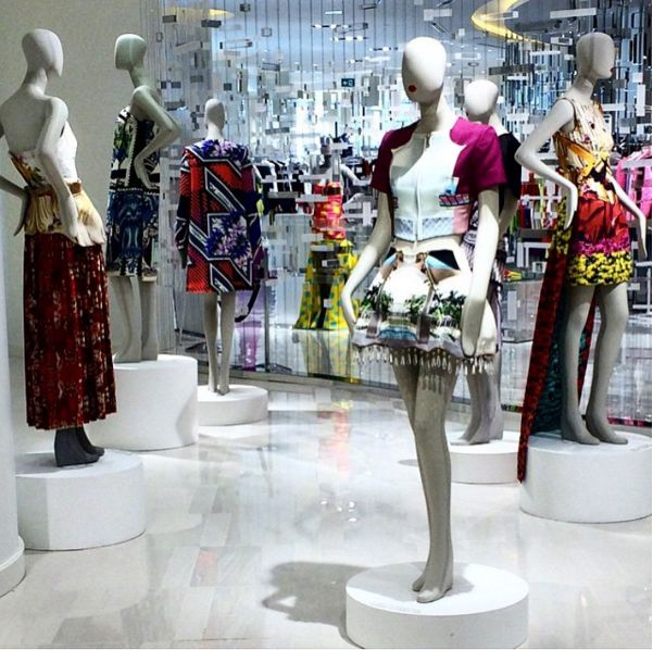 The Mary Katrantzou archive on display at ''The Room'' in Hudson's Bay (Canada).