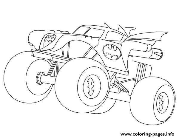 Batman Monster Truck Coloring Pages Printable Monster Truck