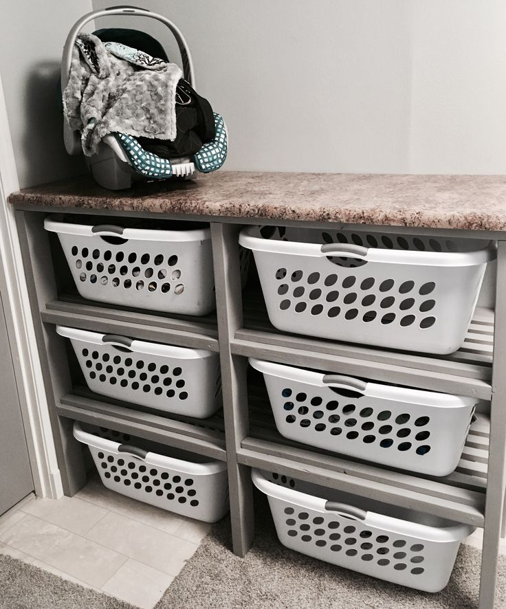 I love my hand built laundry dresser 6 baskets for my big for Large family laundry