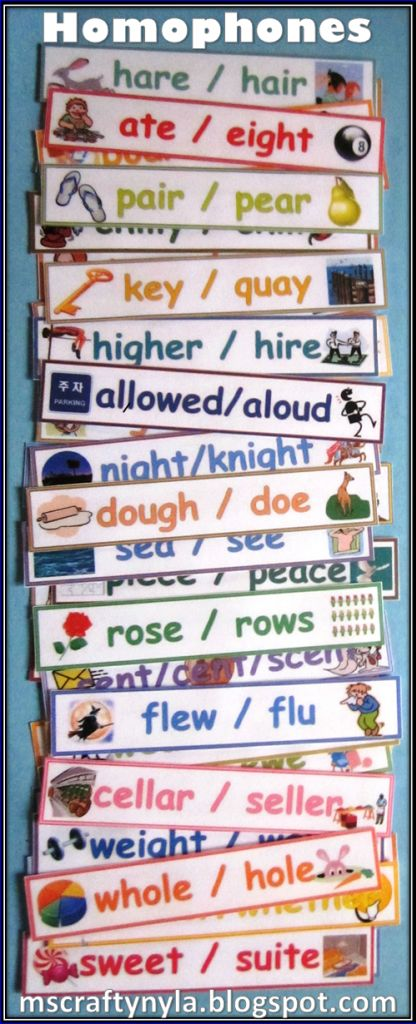 list of english homophones