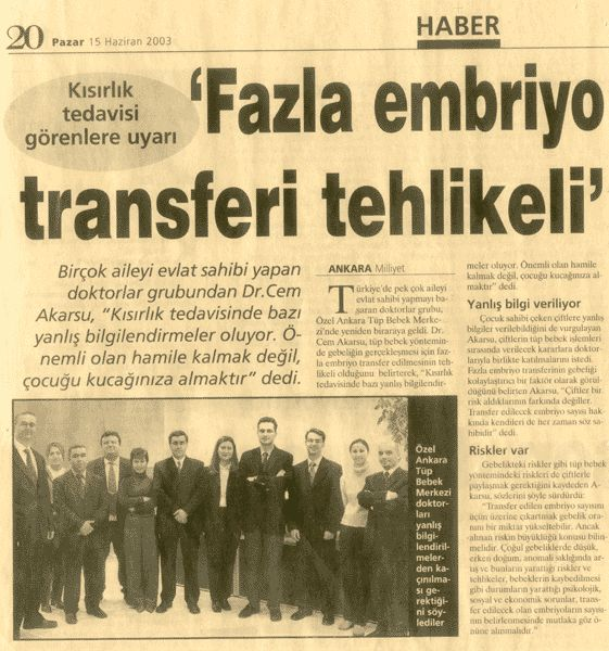 """Basında Ankara Tüp Bebek """"Fazla Embriyo Transferi Tehlikeli"""""""