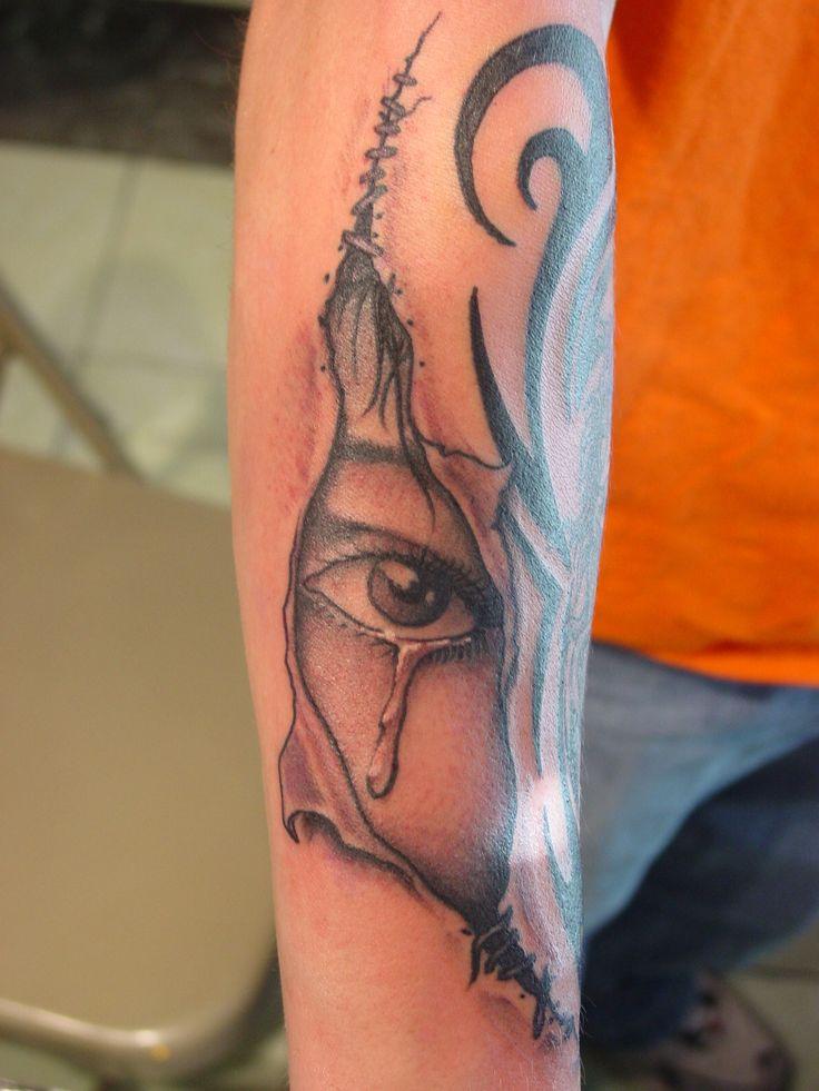 Realistic Ripped Skin Tattoos | Home > torn-skin > Crying eye through torn skin by Renegade Fabian