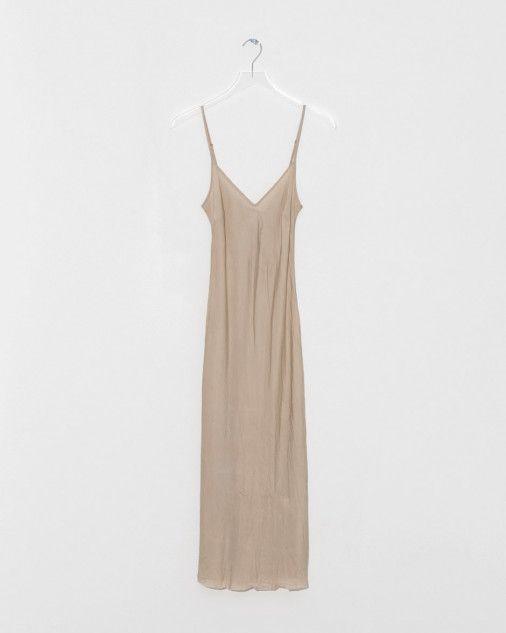 Organic by John Patrick Bias Long Slip Dress in Nude | The Dreslyn