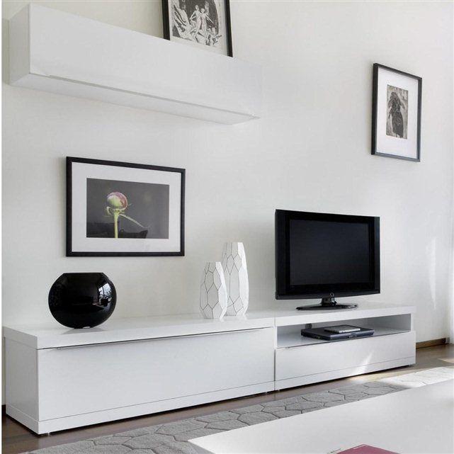 meuble de salon mural laqué elvira atylia : prix, avis & notation ... - Meuble Bas Tele Design