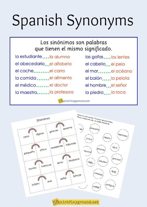 Spanish Synonyms For Elementary Students Spanish For Kids
