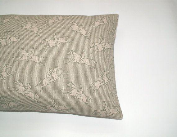 Jumping Horses Cushion / lumbar / throw pillow cover - Designer Emily Bond linen - country decor - equestrian - horse riding - retro green on Etsy, $41.15