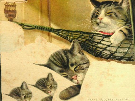 "This is Chessie, the mascot for the Chesapeake & Ohio Railway, Chessie's spouse Peake, kittens ""Nip"" and ""Tuck"".  Caption reads ""Peake, too, prepares to Sleep like a Kitten""....I love Chessie cat"