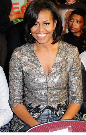 Michelle's Obama New Hair Style And with side part. (Getty Images)