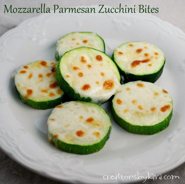 Mozzarella Parmesan Zucchini Bites: One of my favorite savory zucchini recipes! -from creationsbykara.com #zucchini #recipe
