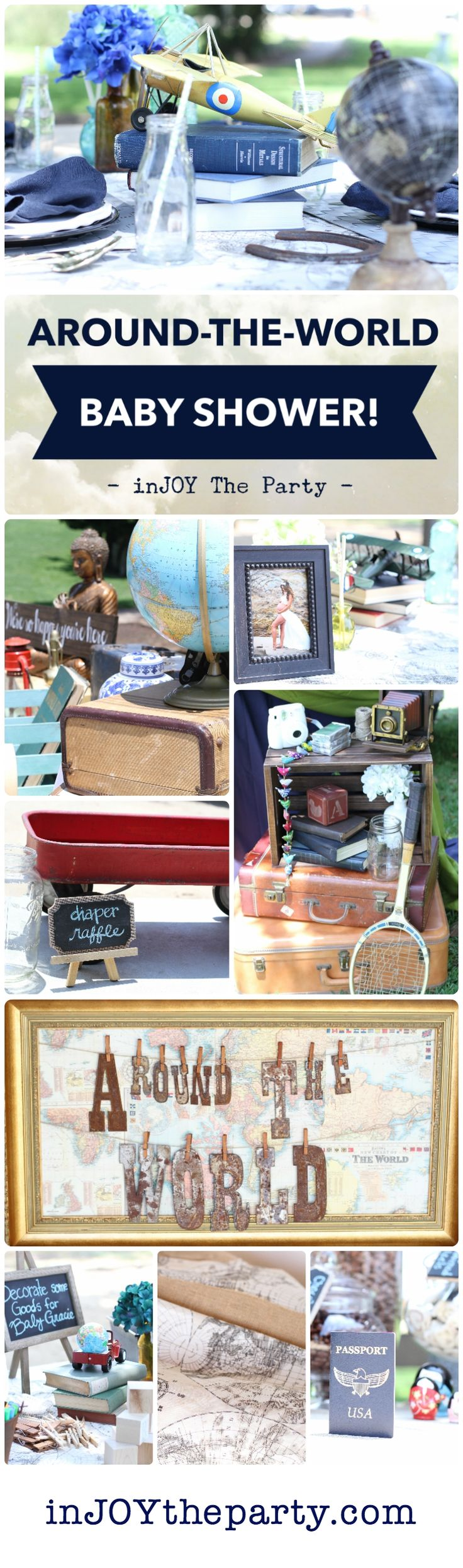 A classic Around-The-World, World Traveler baby shower, bridal shower, or birthday party! Globes, suitcases, airplanes, maps, vintage books...Everything in this prepackaged decor collection is ready to rent!