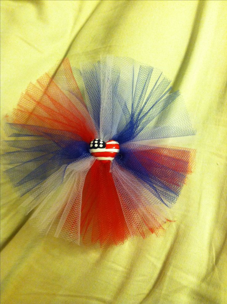 Red, white & blue tulle hair bow