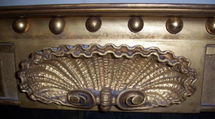Close-up of the central carved scallop shell on our Regency Giltwood & Gesso Overmantel Mirror, FOR SALE, http://www.domani-devon.com/stock/mirrors/regency-giltwood-gesso-overmantel-mirror
